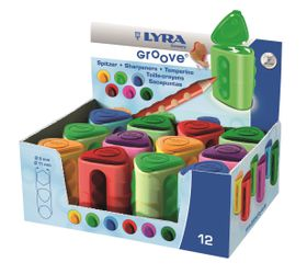 Lyra Groove Twin-Hole Plastic Tub Sharpeners - Display Box of 12