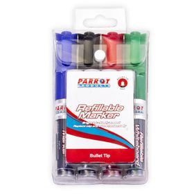 Parrot Refillable Bullet Tip Whiteboard Markers - Pouch of 4