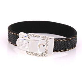 Skyla Jewels Silver Buckle Black Rhinestone Bracelet