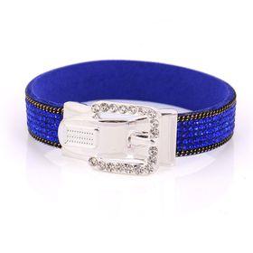 Skyla Jewels Silver Buckle Blue Rhinestone Bracelet