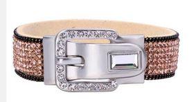 Skyla Jewels Silver Buckle Gold Rhinestone Bracelet