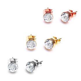 The Gem Seller - Set of Three Gold Crystal Studs with  Swarovski Elements