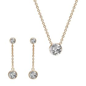 The Gem Seller - Yellow Gold Chain Tri Set with  Swarovski Elements