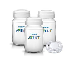 Avent - 3x Breastmilk Containers 260ml and Soother