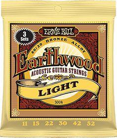 Ernie Ball 3004 Earthwood 80 20 Bronze Light Acoustic Guitar Strings - 3 Pack