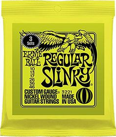 Ernie Ball 3221 Regular Slinky Electric Guitar Strings - 3 Pack