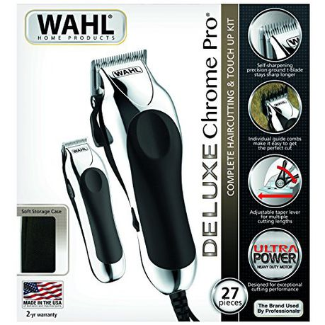 Wahl Deluxe Chrome Pro Corded Haircutting \u0026 Touch,Up Kit