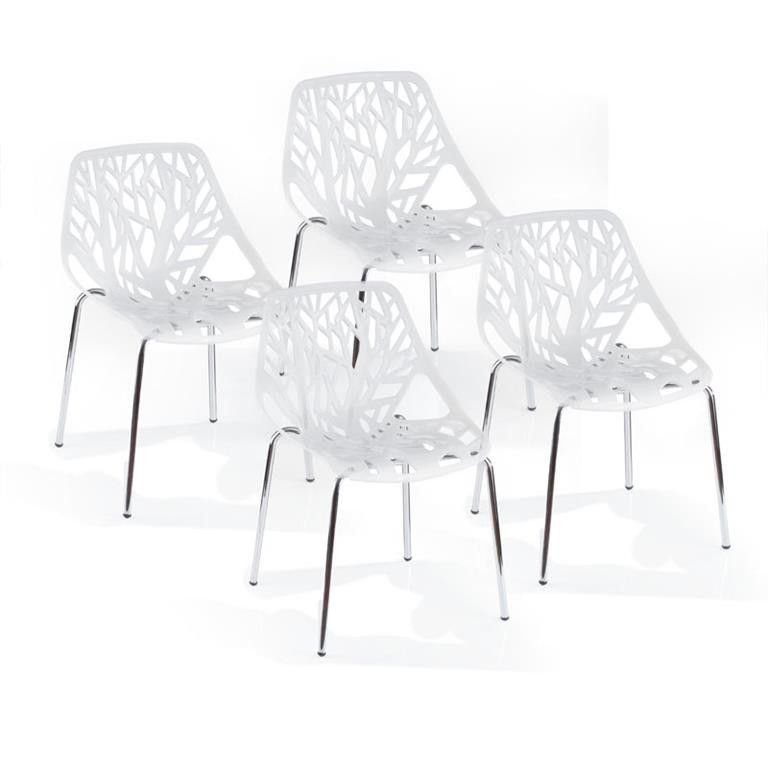 cielo bailey polypropylene dining chair white set of 4 buy