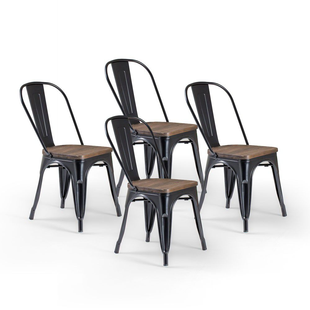 black metal dining chairs. Cielo Oslo Metal Dining Chair - Black (Set Of 4). Loading Zoom Chairs I