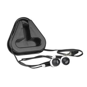 Earphones in Triangular Protective Case