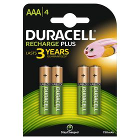 Duracell 750 mAh Rechargeable AAA Batteries