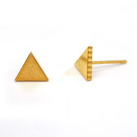 Xcalibur Stainless Steel Triangular Shaped Gold Plated Stud