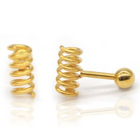 Xcalibur Stainless Steel Round Shaped Gold Plated  Stud