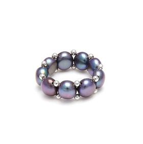 Kyoto Pearl Peacock Stretch Ring with White Gold Rondels