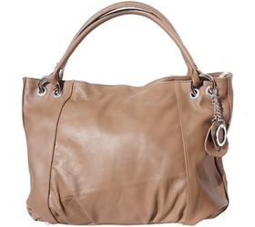 Genuine Leather Pleated Hobo Handbag - Dark Taupe