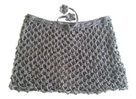 Moo Chick Crochet Swimwear Skirt in Light Grey