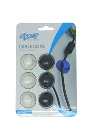 SCOOP Double Hole Cable Clips 6 Pack 3x Black And 3x White
