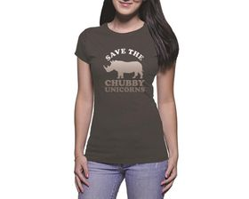 OTC Shop Chubby Unicorns Ladies T-Shirt - Charcoal