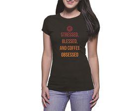 OTC Shop Coffee Obsessed Ladies T-Shirt - Black