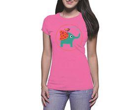 OTC Shop Cute Elephant Ladies T-Shirt - Fuchsia