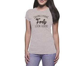 OTC Shop Forty Look Good Ladies T-Shirt - Grey Heather