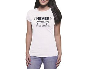 OTC Shop Never Give Up Ladies T-Shirt - White