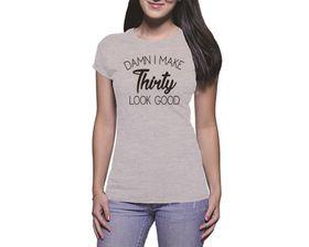 OTC Shop Thirty Look Good Ladies T-Shirt - Grey Heather