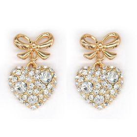 Bella Bella Gold Coloured Fashion Heart Shaped Drop Earrings (TBE084)