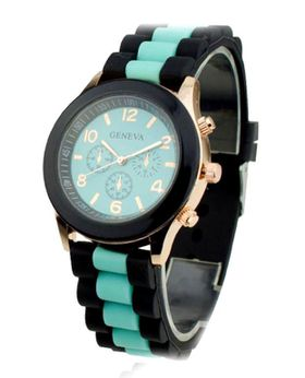 Urban Charm Geneva Sports Luxe Silicone Jelly Ladies Watch - Mint Green + (FREE Jewellery Tin)