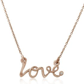 Miss Jewels- 0.003ct Diamond 'Love' Pendant in 925 Sterling Silver, Plated with 14K Rose Gold