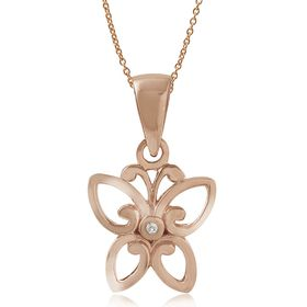 Miss Jewels- 0.003ct Diamond Butterfly Pendant in 925 Sterling Silver, Plated with 14K Rose Gold