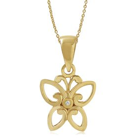 Miss Jewels- 0.003ct Diamond Butterfly Pendant in 925 Sterling Silver, Plated with 14K Yellow Gold