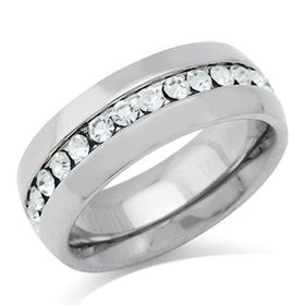 Miss Jewels- 7mm Genuine Crystal Stainless Steel Wedding Band in Silver