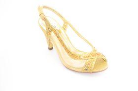 Orbit Peeptoe Mesh Heel - Gold