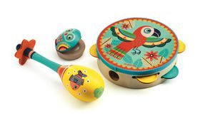 Djeco Set Of 3 Musical Instruments Tambourine, Maracas, Castanet