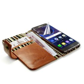 Tuff-Luv Alston Craig Vintage Genuine Leather Wallet Case for Samsung Galaxy S7 Edge (with Free Screen Protector) - Brown