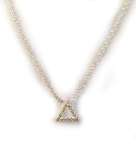Miss Jewels 0.08ct Clear Cubic Zirconia Triangle Pendant and 925 Sterling Silver Chain
