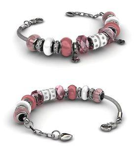 Destiny Charm Bracelet with Swarovski Crystals - Pink