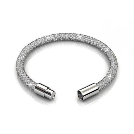 Destiny Silver Mesh Bracelet With Swarovski Crystals