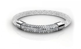 Destiny Lush Bracelet with Swarovski Crystals - White/Silver