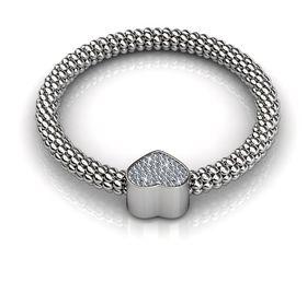 Destiny Heart Bracelet with Swarovski Crystals - Silver