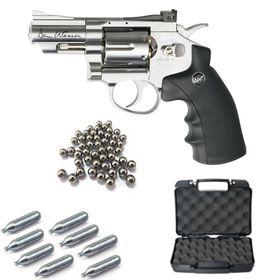 "A.S.G Dan Wesson 2.5"" Chrome Revolver Steel Ball Co2 Airgun Kit"