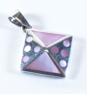 92.5 Sterling Silver Pendant  Pink  J95