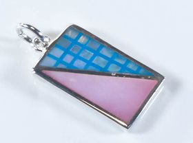 92.5 Sterling Silver Pendant  Pink and Blue  J96