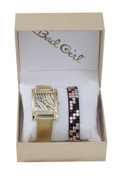 Bad Girl Glitterati Analogue Watch Set - Bronze