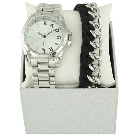 Bad Girl Faz Analogue Watch And Bracelet Set Silver Buy Online