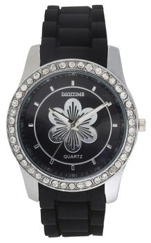 Digitime Floral Analogue - Black