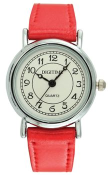 Digitime Spice Analogue Watch - Red and Silver