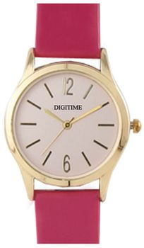 Digitime Timeless Analogue Watch - Pink and Gold