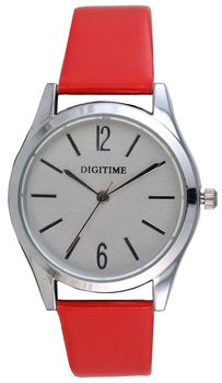 Digitime Timeless Analogue Watch - Red and Silver